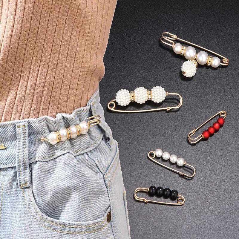 Pants waist pin circumference change small artifact fixed clothes bib skirt anti-empty brooch female