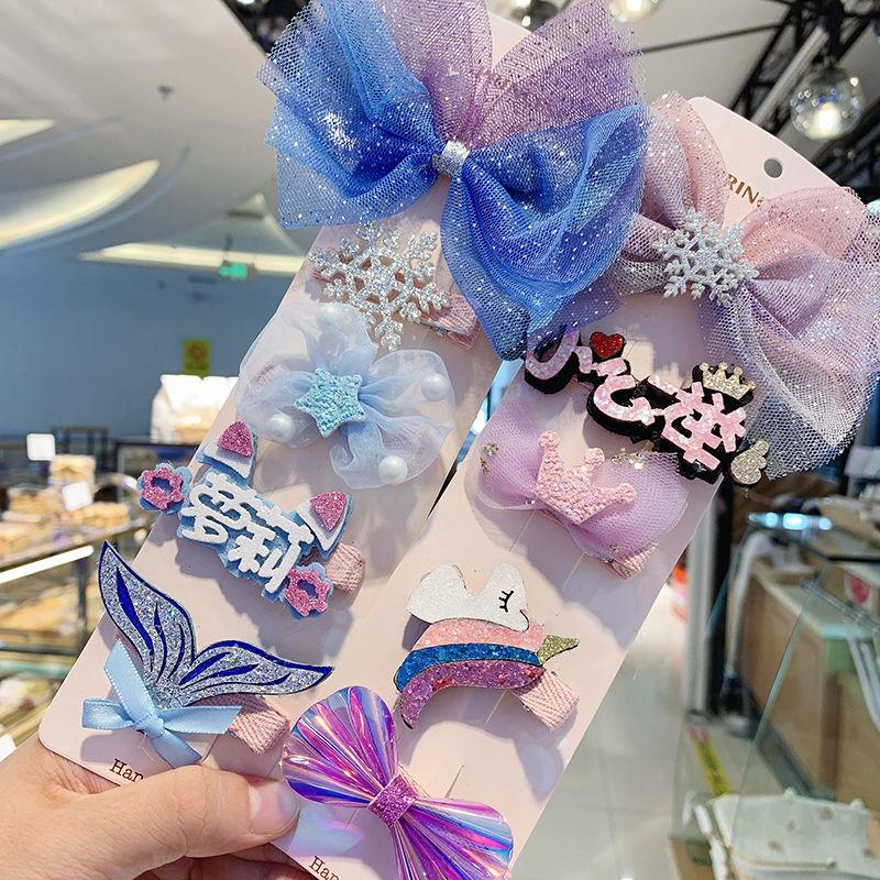 Bow hairpin headdress super fairy lace yarn Korean children girls hair accessories princess clip head flower