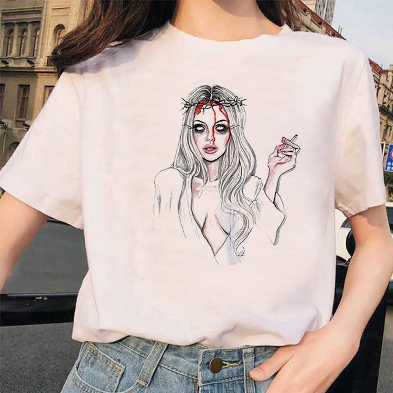 Summer new ladies T-shirts Amazon hot-selling net red same ins tide cartoon devil printing modal cotton