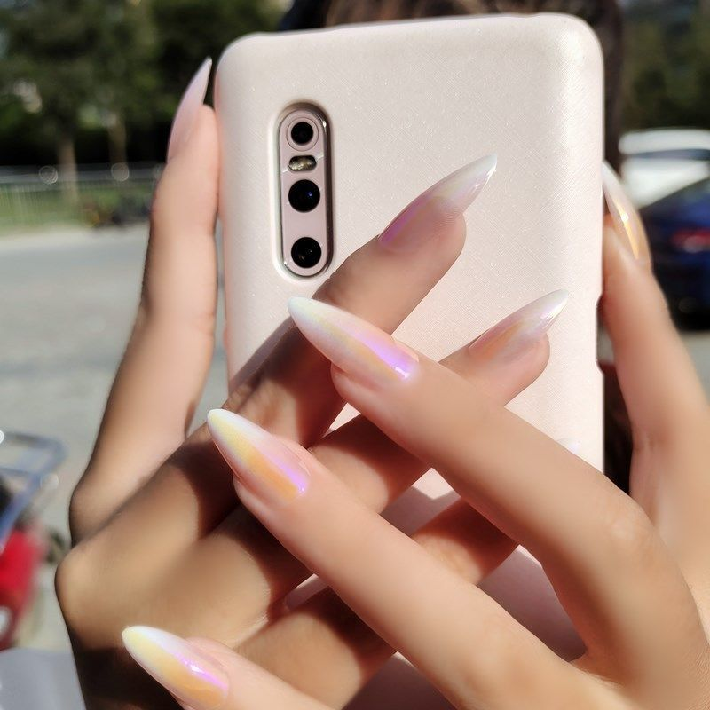 Long painted eggshell nail art finished patch semi-transparent nude ballet wear fake nails autumn and winter waterproof student