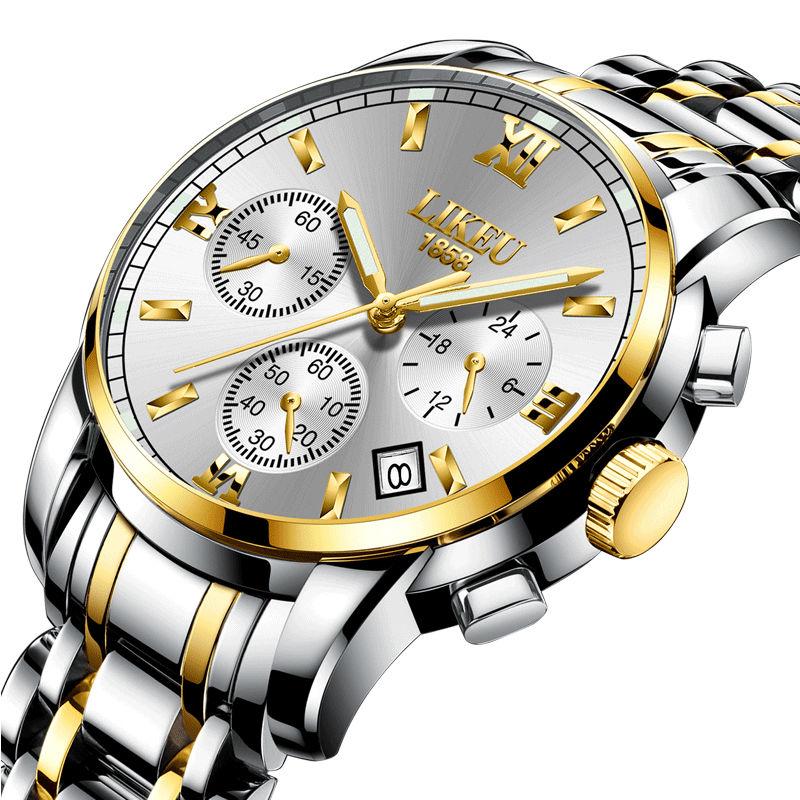 Genuine Watch Men's Automatic Quartz Stainless Steel Waterproof Business Calendar Band Luminous