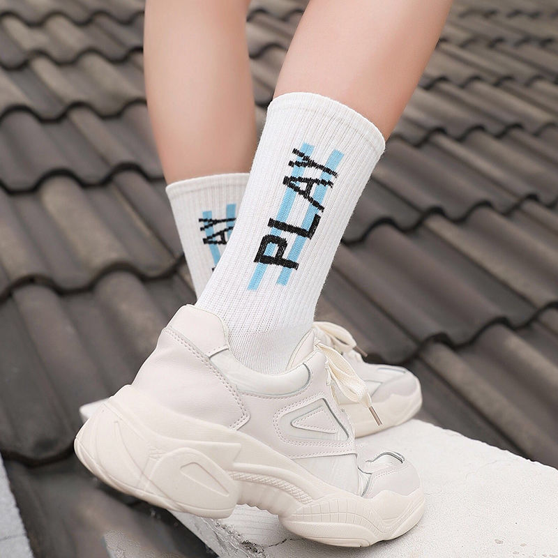 1-5 pairs of stockings female trendy street European and American middle tube trend Korean style college autumn hip-hop brand socks