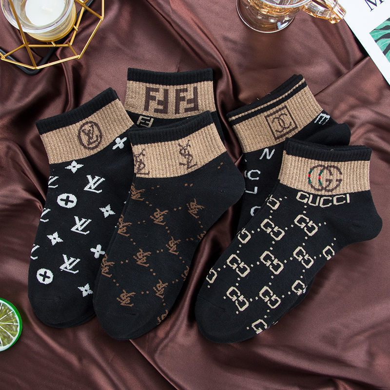 European and American international celebrity socks, women's boat spring summer new styles of pure cotton gold silver silk fashion trend ladies stockings