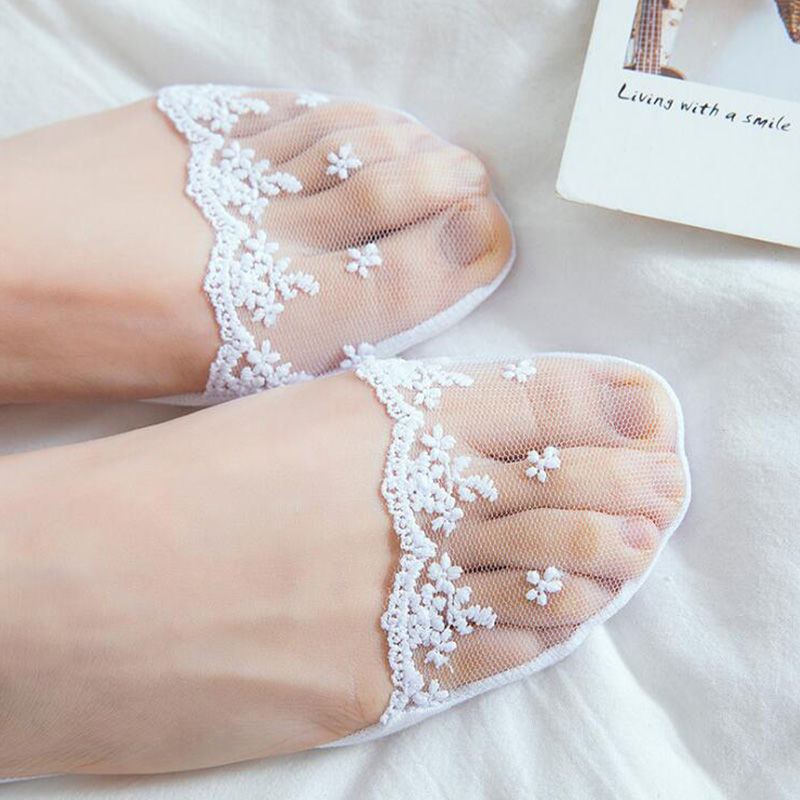 2-4 pairs] Socks, women's boat socks, invisible lace embroidery, with summer non-slip, non-slip heel, single shoe forefoot socks