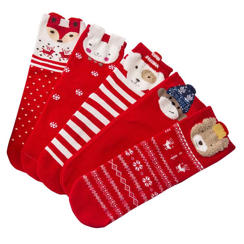 1 pair 2 pairs 3 natal year socks female red tube winter college fashion cartoon stepping villain
