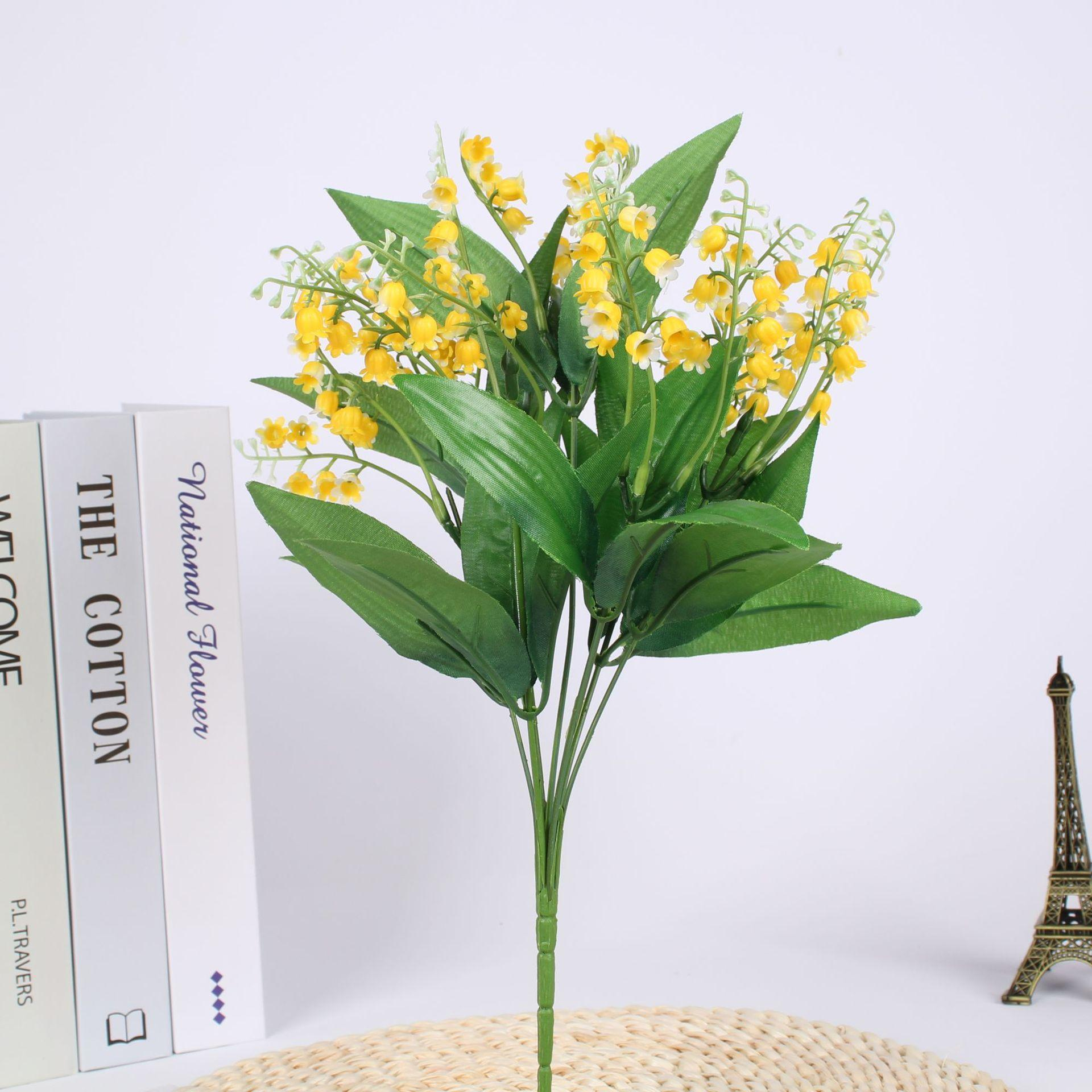Plastic lily of the valley artificial flowers fake wedding decoration bride holding photography props 7 fork bells campanula flower table pendulum