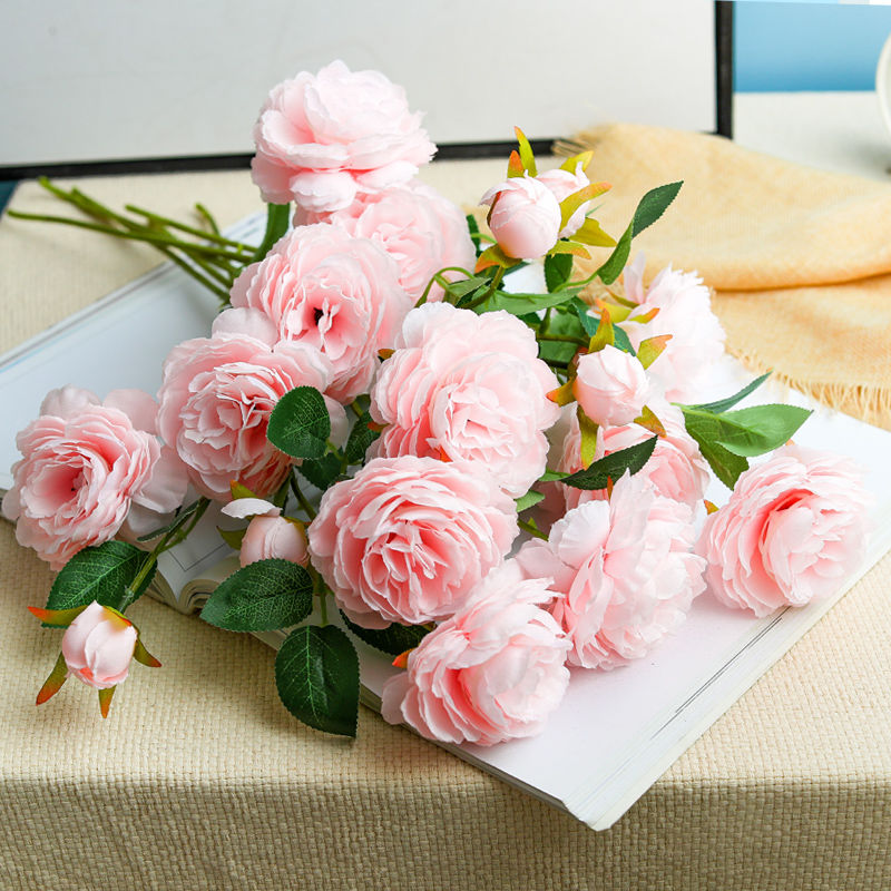 Artificial flower decoration anti-true peony indoor dining table living room fake silk dried rose bouquet