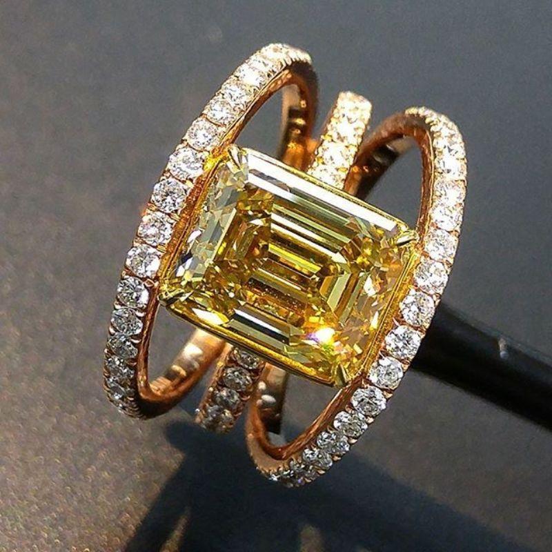 eBay Hot Selling Fashion Champagne Diamond Engagement Rings Micro-set Group Inlaid Yellow Gemstone
