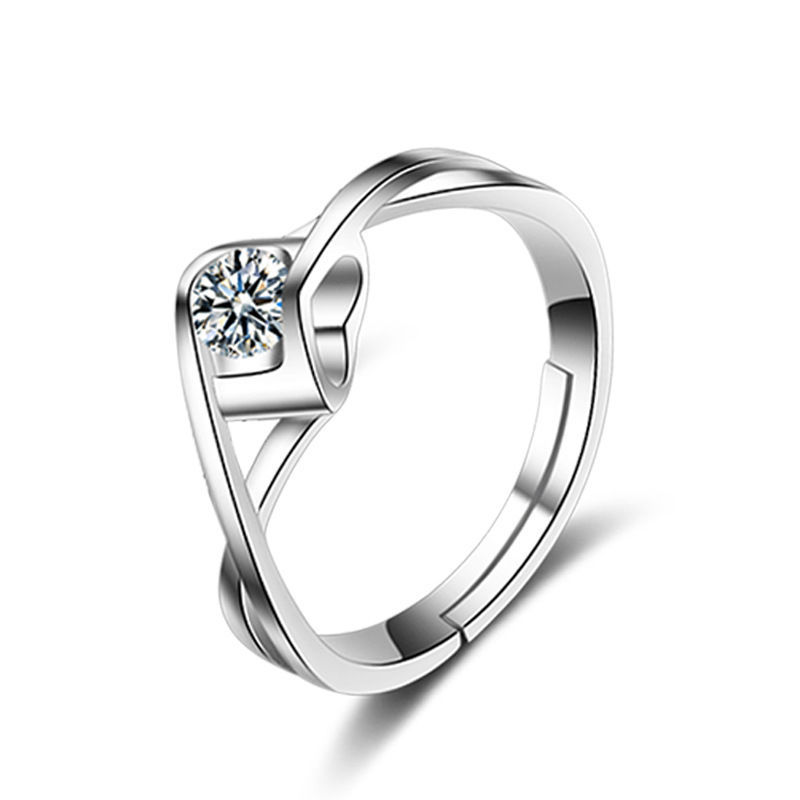 Silver diamond ring 925 white gold open female ins does not fade high-end wedding niche design simple