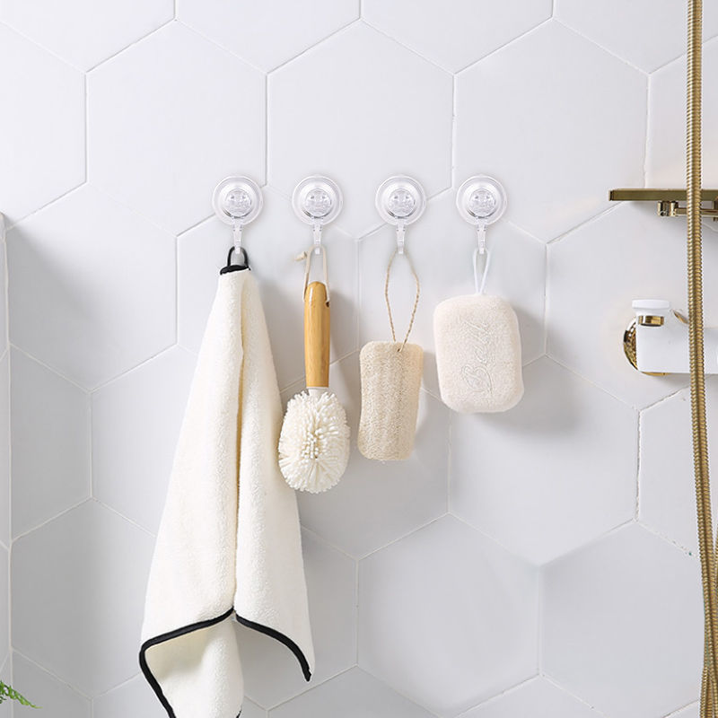 [Upgrade version] Movable nail-free suction hook, strong and seamless cup, towel kitchen bathroom wall hanging storage