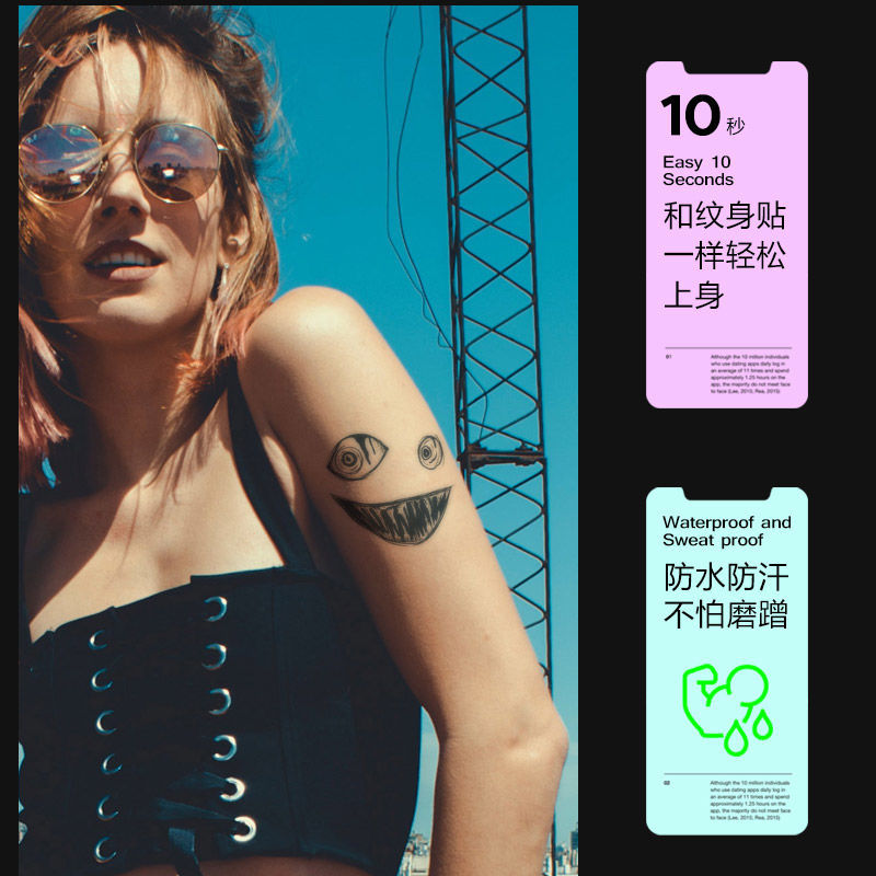 Dark ghost face smiling herbal juice tattoo stickers semi-permanent lifelike tattoos non-reflective long-lasting waterproof and sweat-proof