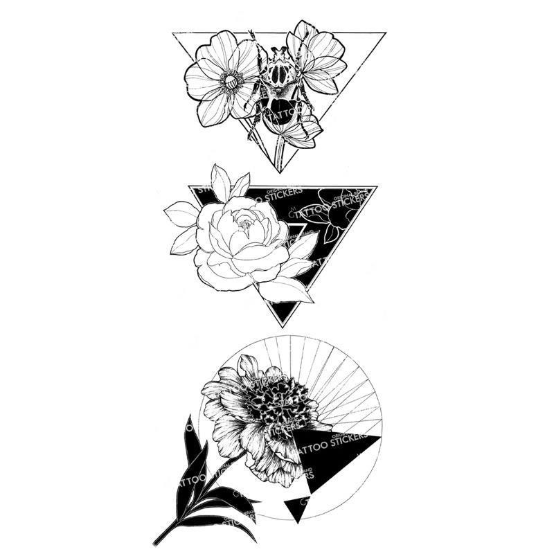 MG tattoo Herbal dye liquid Nordic Aesthetic Fresh Geometric Flower Simple and Elegant Lasting Waterproof Tattoo Sticker
