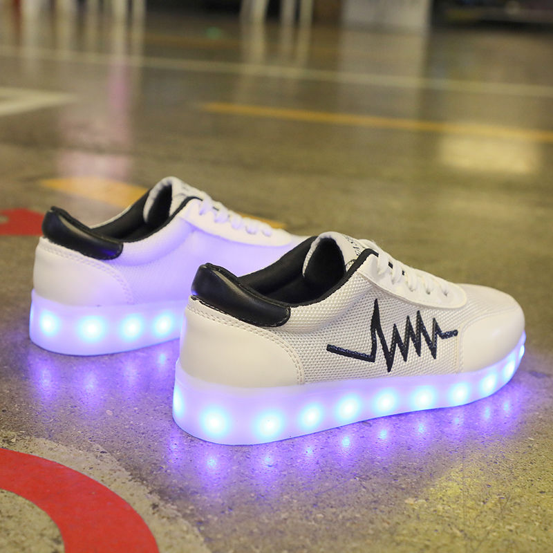 Spring and summer mesh breathable colorful luminous shoes male LED fluorescent USB charging ghost step dance student board