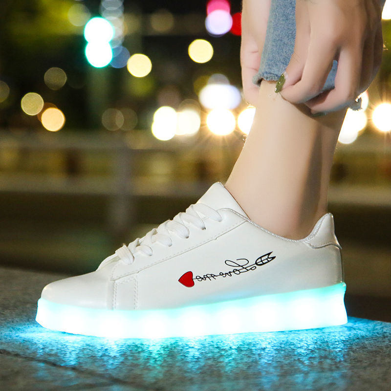 Colorful USB charging children's ghost walk luminous shoes men's LED fluorescent female couples students big kids sneakers