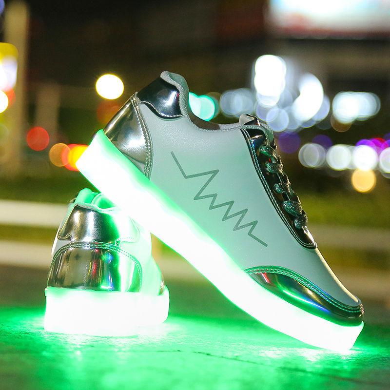 USB charging ghost dance shoes male LED luminous student couple fluorescent colorful big children's light