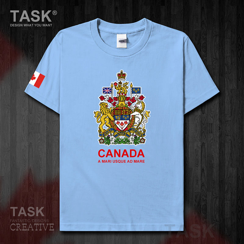 Canada pure cotton T-shirt short-sleeved men's team uniform casual sports large size loose couple wear student summer